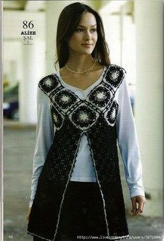 Crochet Vest tunic with openwork and granny squares.  Diagrams at source