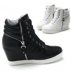 86e0464fe31 Trendy Ideas For Womens Sneakers   Womens Black White Zippers High Top  Hidden Wedge Sneakers Ankle Boots