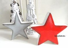 Star Ornament Red Or Grey Ceramic Home Decor Shabby Chic Christmas  #homeheaven