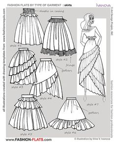"""anatoref: """"Drawing Skirts Row & 3 (Left) Row 3 (Right) Row 4 (sent by a friend, Source Unknown) Row 5 """" Chanel lipstick Giveaway lifetime ban from the discourse how to draw full skirt Draw fashion flats with style and confidence. Learn what is fashion Fashion Design Template, Fashion Templates, Pattern Fashion, Fashion Design Drawings, Fashion Sketches, Fashion Illustrations, Drawing Fashion, Diy Fashion, Fashion Dresses"""