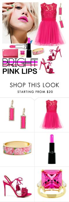 """Bright Pink Lipstick"" by westcoastcharmed ❤ liked on Polyvore featuring beauty, ABS by Allen Schwartz, Chanel, Lilly Pulitzer, Armani Beauty, Aquazzura, Kate Bissett and pinklips"