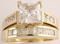 1.50 carat princess cut cz of the very finest quality, with 3 channel set cubic zirconias down each side of the engagement ring, and matching wedding band featuring 8 channel set stones, all in solid 14k white or yellow gold, from Orleansjewels.com