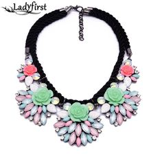Candy Color Luxury Statement Rope Multicolor Crystal Necklaces Big Resin Jewelry For Women Dress CollareB233