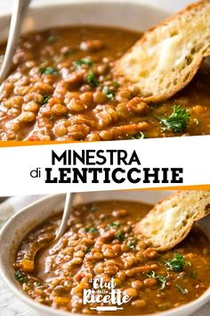 Minestra di lenticchie Vegetarian Cooking, Vegetarian Recipes, Healthy Recipes, Cooking For Dummies, Soup Recipes, Cooking Recipes, Vegan Junk Food, Sicilian Recipes, Vegan Soup