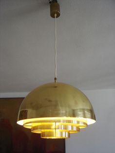 Gorgeous MID CENTURY Modern VEREINIGTE WERKSÄTTEN Brass DOME Pendant Lamp ∅ 40cm
