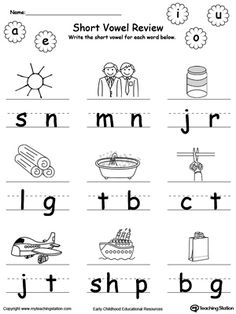 Identify and write the missing short vowel part III in this printable worksheet. Your child will look at the picture, pronounce its name and identify the missing vowel in the word, then write it.