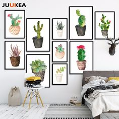 Cheap canvas art print poster, Buy Quality art print poster directly from China painting for living room Suppliers: Nordic Watercolor Succulent Green Plants Canvas Art Print Poster, Cactus set Wall Paintings For Living Room Modern Home Decor Diy Canvas Art, Diy Wall Art, Canvas Wall Art, Painting Canvas, Diy Art, Living Room Paint, Living Room Decor, Living Rooms, Living Room Canvas Art