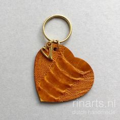 Golden yellow ostrich leather Heart keychain