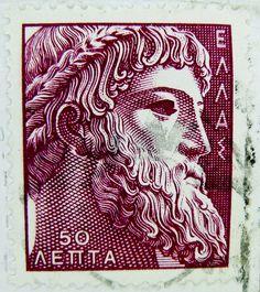 Zeus Greek mythology old greek stamp Greece Hellas 50 dr. Old Stamps, Vintage Stamps, Zeus Greek Mythology, Postage Stamp Art, Ancient Greece, Mail Art, Stamp Collecting, Vintage Posters, Vintage Ads