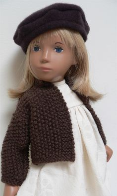 Moss stitch jacket and wool beret with cream cotton dress by chirnside on eBay