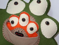 Plush Stuffed Monster with Baby Green and Orange by saumansmith,