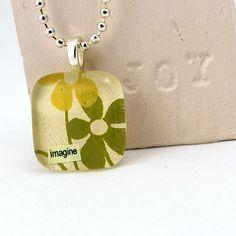 Imagine Glass Tile Pendant ~ Autumn Meadow Necklace
