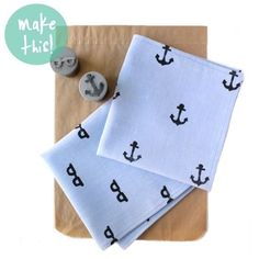 25 DIY Gifts for Dad on Polka Dot Chair Blog - Hand stamped pocket squares - cute gift idea for Dad.