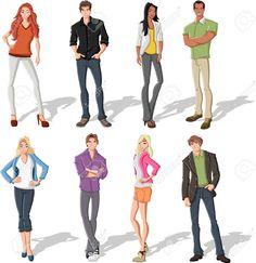 16260820-Group-of-fashion-cartoon-young-people-Stock-Vector-teen.jpg (1262×1300)