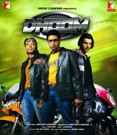 Dhoom Bollywood DVD With English Subtitles Bollywood Action Movies, Hindi Bollywood Movies, Bollywood Posters, Watch Hindi Movies Online, Hd Movies Online, 1995 Movies, Iconic Movies, Dhoom 2, Biker Movies