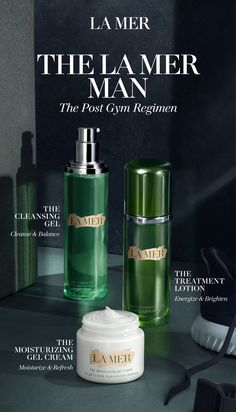 Discover the La Mer Man. His Post Gym Regimen gets skincare soaring with a refreshing after-workout cool-down. The Cleansing Gel washes away workout impurities while The Treatment Lotion energizes the look of the skin. Press on the Moisturizing Gel Cream for a cool, calm, and collected finish before walking into the workday.
