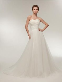 Sweetheart Feather Simple A-line Cheap Wedding Dresses Online, Cheap Bridal Dresses, Tulle Wedding Dresses, Wedding Dress With Feathers, Cheap Bridal Dresses, A Line Bridal Gowns, Cheap Wedding Dresses Online, Wedding Gowns, Lace Wedding, Bride Dresses, Homecoming Dresses