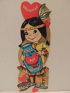 """Indian Maiden Squaw Pottery """" got to Pot Without You """" Unused Vintage Valentine"""
