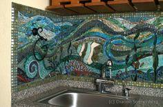 Mosaic backsplash underwater aquarium, Austin Texas