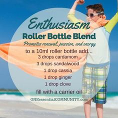 """""""enthusiasm"""" roller bottle blend promotes renewal, passion, and energy-- LOVE…"""