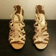 """Via Spiga NEW Sandals 3"""" heels Leather Tanned gently used sandals from Nordstrom Rack never worn, eear grom try on only. Very soft leather, small spot on hill. Via Spiga Shoes Sandals"""