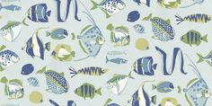 Cozumel (T16041) - Thibaut Wallpapers - A whimsical design of tropical fish in vibrant colours. Shown here in various shades of blue, white and green. Other colourways are available. Please request a sample for a true colour match. This is an American wallcovering and will take between 7-10 working days for delivery. Wide width product.