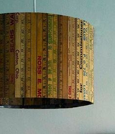 Recycled rulers lampshade