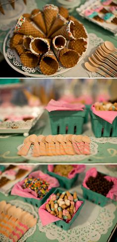 Ice Cream Themed Birthday Party--like the cake that looks like it's topped by a dropped ice cream cone.