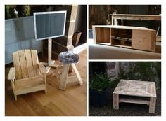 Canvas, chair and stool + coffee table and TV stand all made from recycled pallet wood. Tableau, fauteuil et tabouret en bois de palettes recyclées & Table Repurposed Wood, Recycled Pallets, Wooden Pallets, Pallet Furniture Designs, Wood Pallet Furniture, Furniture Ideas, Diy Dining Table, Shabby Chic Table And Chairs, Outdoor Dining