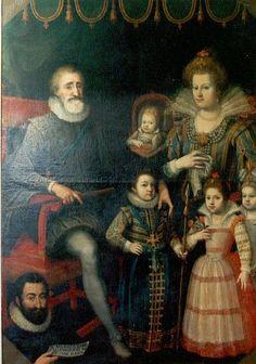 Henri IV et la famille royale: son épouse Marie de Médicis et ses quatre enfants Louis XIII, Élisabeth, Christine et Monsieur d'Orléans.