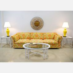 70s Floral Sofa, Accented W/yellow Lamps