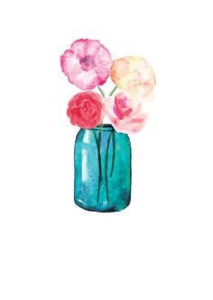 Lauren Baxter : Flowers in a Mason Jar