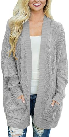 Shop a great selection of Actloe Women Casual Open Front Long Sleeve Cable Knit Sweater Cardigan Pocket. Find new offer and Similar products for Actloe Women Casual Open Front Long Sleeve Cable Knit Sweater Cardigan Pocket. Cardigan En Maille, Cable Knit Cardigan, Sweater Cardigan, Long Cardigan, Oversized Cardigan, Loose Sweater, Knitted Poncho, Long Blouse, Baggy
