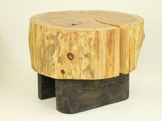 Tree Trunk SideTable on wooden black base Wooden Stump table natural top baumstamm tisch sgabello ceppo di legno