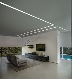 Brenta linear lighting by L&L Luce&Light Gypsum Design, Gypsum Ceiling Design, House Ceiling Design, Ceiling Design Living Room, Ceiling Light Design, Living Room Designs, House Design, Modern Ceiling Design, Led Light Design
