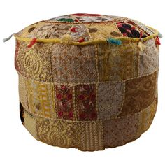 Indian Handmade Round Ottoman Floor Pouf Cover, Hippie Pouf Seating Foot Stool, Meditation Pouf Cover, Embroidered Ethnic Pouf Cover Round Floor Pillow, Round Pillow, Ottoman Cover, Round Ottoman, Floor Pouf, Floor Cushions, Bean Bag Rounds, Quilted Curtains, Handmade Ottomans