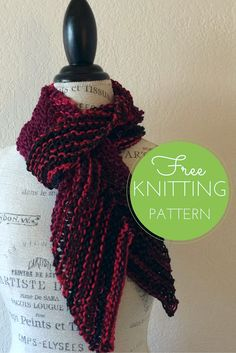 Easy Bias Scarf Free Knitting Pattern (one skein project!)