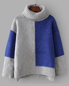 SheIn offers Colorblock D. SheIn offers Colorblock Drop Shoulder High Low Sweater & more to fit your fashionable needs. Style Feminin, Baby Pullover, Pullover Sweaters, Color Blocking, Fall Outfits, Knitwear, High Low, Knit Crochet, Knitting Patterns