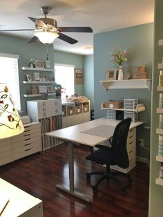 Scraproom: Newly Updated Craft Room by maryann Craft Room Storage, Craft Room Decor, Craft Room Design, Sewing Room Organization, Craft Rooms, Storage Ideas, White Craft Room, Craft Room Tables, Scrapbook Organization