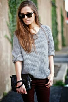 Grey Sweater And Tights With Purse