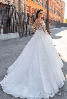 crystal design 2017 bridal long sleeves off the shoulder sweetheart neckline heavily embellished bodice romantic princess lace ball gown a  line wedding dress sheer back royal train (freda) bv