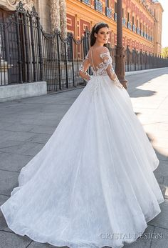 crystal design 2017 bridal long sleeves off the shoulder sweetheart neckline heavily embellished bodice romantic princess lace ball gown a  line wedding dress sheer back royal train (freda) bv