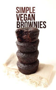 Simple Vegan Brownies minimalist baker recipes made with coconut oil little greasy but very good pay attention as recipe states do not overcook Baker Recipes, Vegan Dessert Recipes, Brownie Recipes, Recipes Dinner, Vegan Recipes Simple, Dessert Healthy, Healthy Meals, Vegan Treats, Vegan Foods