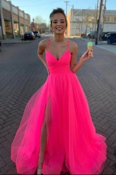 This dress could be custom made, there are no extra cost to do custom size and color, Modest Tulle V Neck Spaghetti Straps Pink Long Prom Dresses with Senior Prom Dresses, Homecoming Dresses Long, Prom Dresses Two Piece, Prom Dresses For Teens, Cute Prom Dresses, Modest Dresses, Tight Dresses, Pretty Dresses, Beautiful Dresses