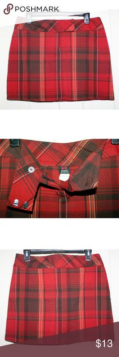 "Red plaid tartan schoolgirl punk mini skirt Used but not abused, no condition issues, not faded. Some stretch through the hips, but not in the waistband.  Measures: Waist: 31"" around the top Hips: 38-42"" Length: 15""   Bundle & save! 15% off 2+ items  # schoolgirl punk mini skirt gothic skater emo 90s grunge rocker Skirts Mini"