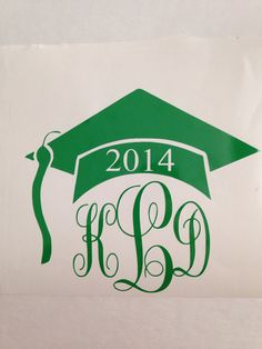 Monogram Graduation Cap Decal on Etsy, $4.00