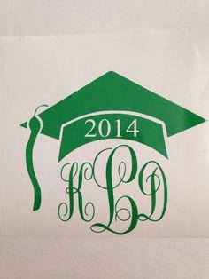 Monogram Graduation Cap Decal on Etsy, $4.00