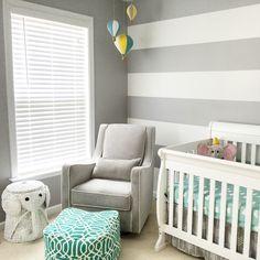 Baby Gonzales' nursery :) hot air balloons, elephants, aqua, yellow, grey, and white