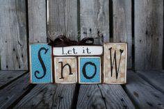 Snow LET IT SNOW Block Primitive Wood Set snowflake snowman collector home seasonal decor