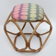 Ikat Diamond Stool from MITSEIN Custom Turtle pattern in pink and yellow. Ethical production.